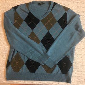 J. Crew argyle cotton and cashmere v-neck sweater
